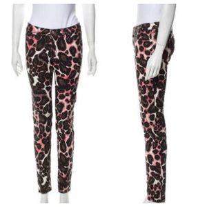 Rebecca Minkoff Animal Print Jeans Pink Black 25